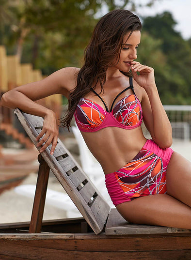 Print High Waist 2pcs Swimsuit Bikini