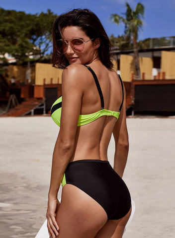 Image of Fluorescent Contrast 2pcs Bikinis Swimsuit