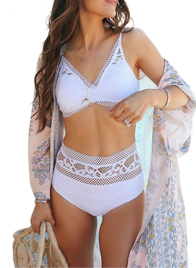 Lace-Trim High-Waist Bikinis (LC411282-1-1)