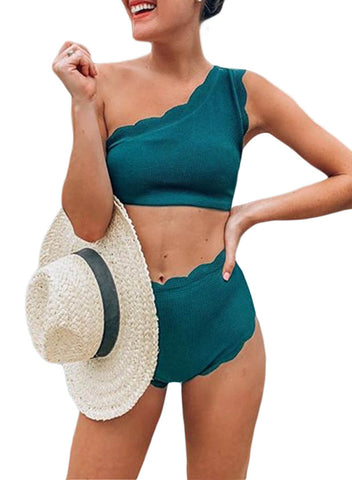 High Waist Single Shoulder Swimsuit (LC411536-9-1)
