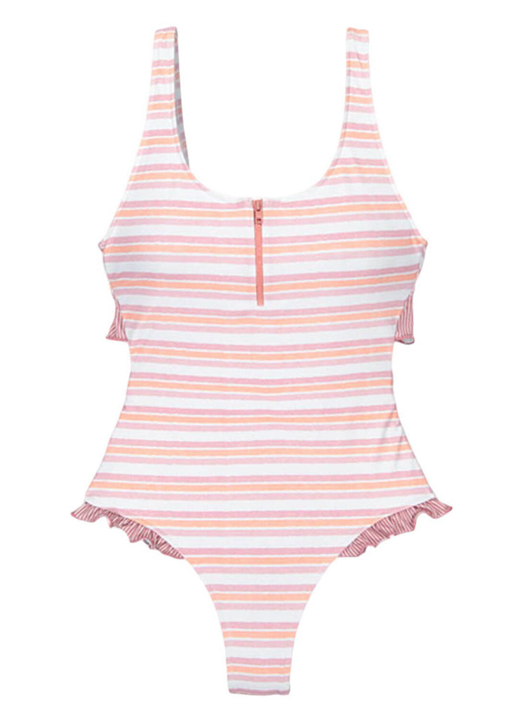 Ruffle V-neck One-piece Swimsuit (LC411644-1-2)