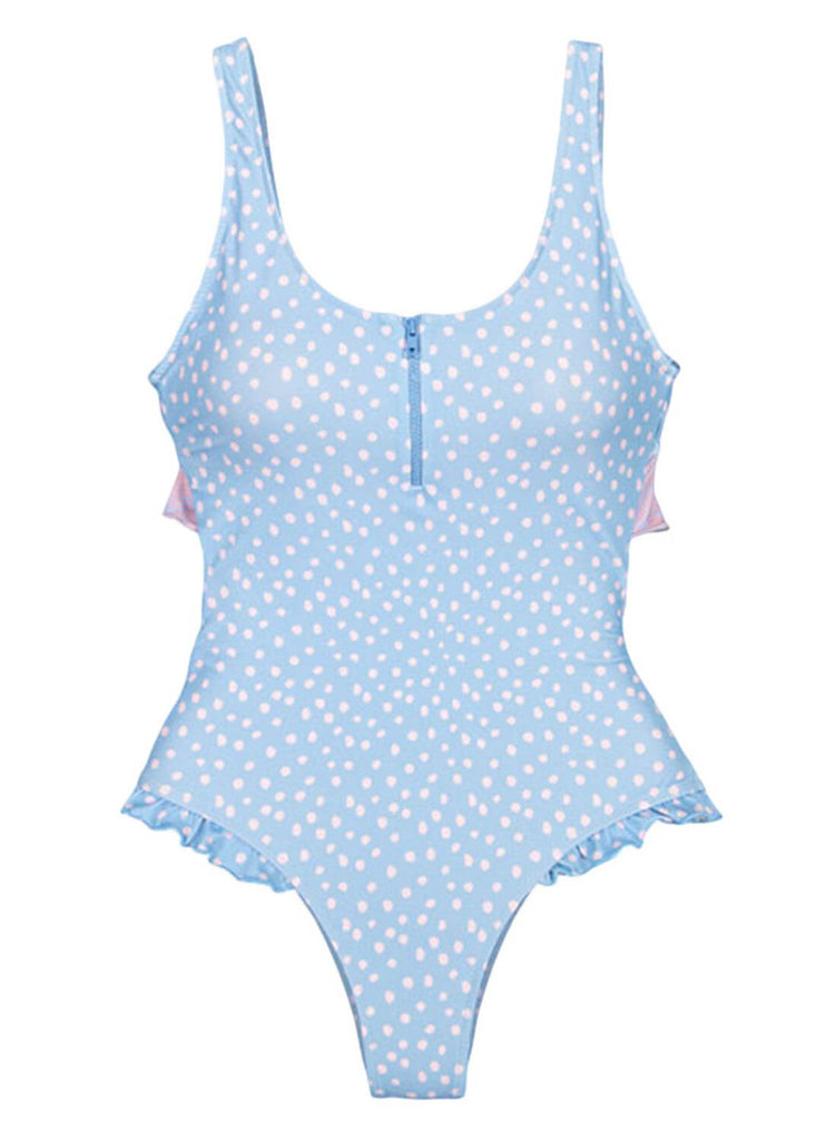 Ruffle V-neck One-piece Swimsuit (LC411644-4-2)