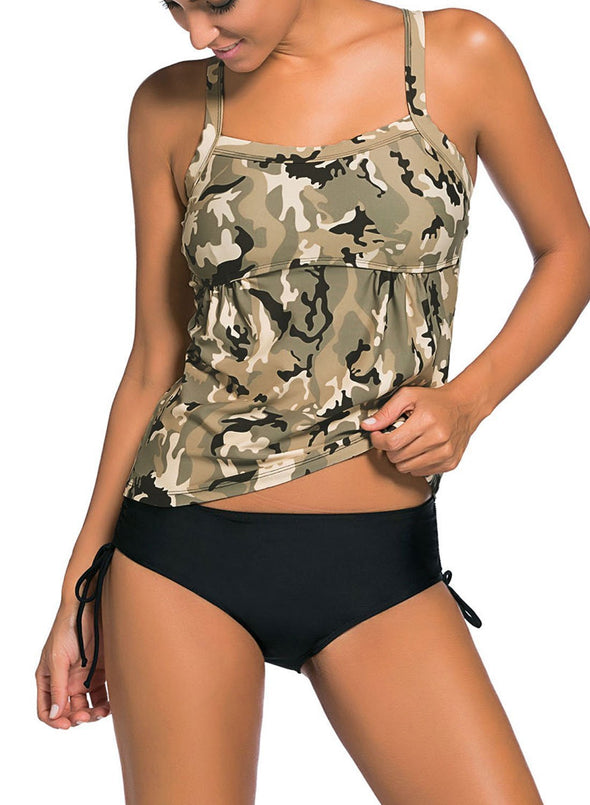 Camouflage Print Tankini Swimsuit (LC41937-1-1)