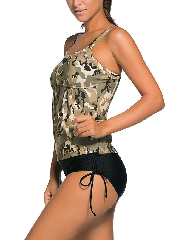 Camouflage Print Tankini Swimsuit (LC41937-1-3)