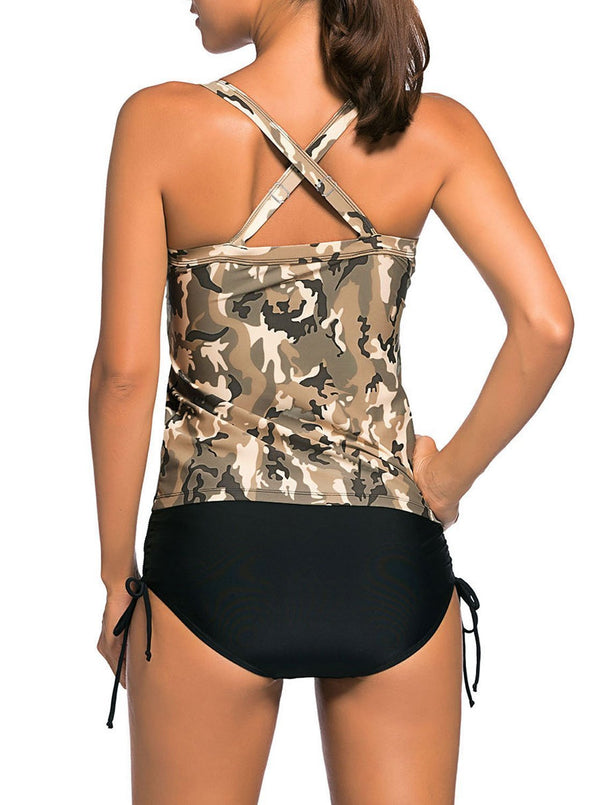 Camouflage Print Tankini Swimsuit (LC41937-1-2)
