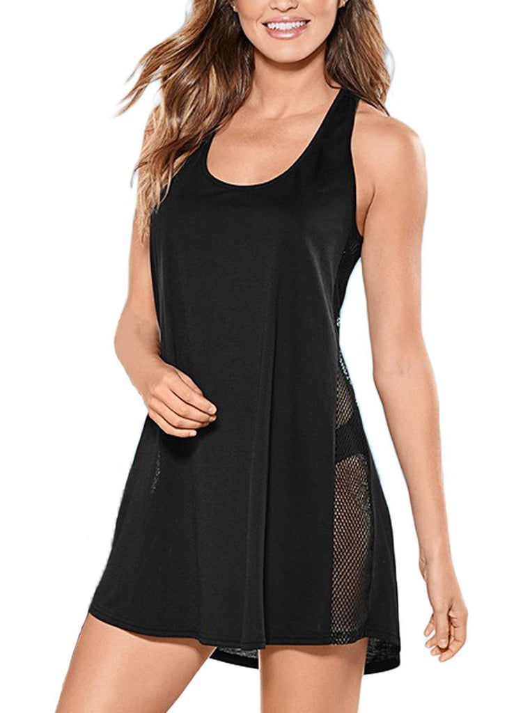 Mesh Side Racerback Tunic Dress  Beach Cover up