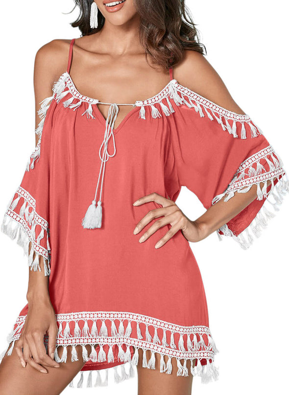 Boho Tassel Tunic Cover up (LC420080-10-3)