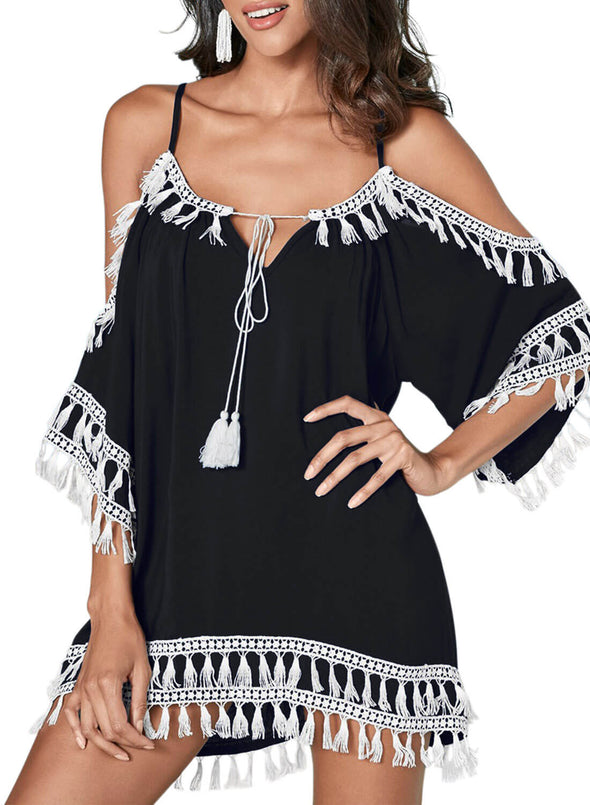 Boho Tassel Tunic Cover up (LC420080-2-1)