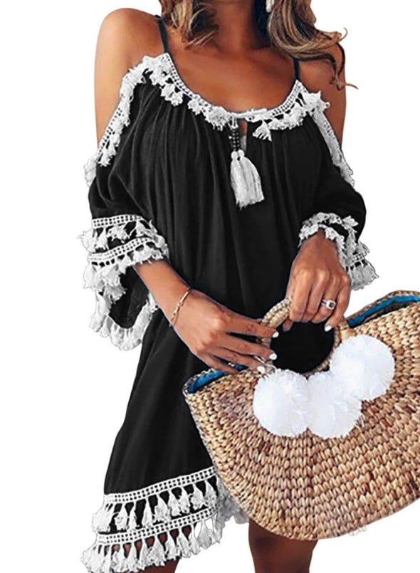 Boho Tassel Tunic Cover up (LC420080-2-3)