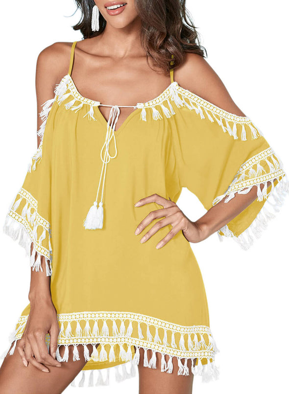 Boho Tassel Tunic Cover up (LC420080-7-1)