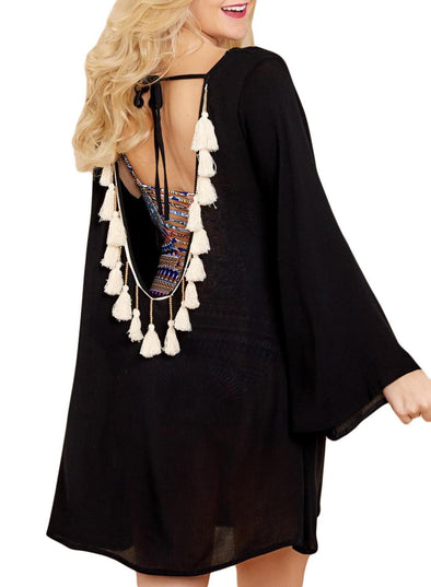 Open Back Tassels Cover Up Dress (LC420102-2-1)