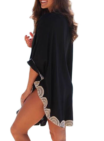 64638ac7b1 ... Embroidered Trims Beach Cover up