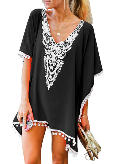 Crochet Chiffon Tassel Swimsuit Beach Cover Ups (LC420145-2-1)