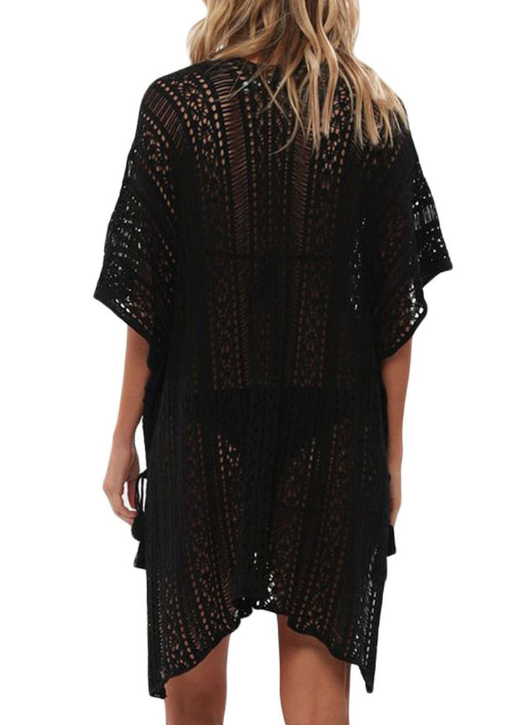 Solid Crochet Knitted Beachwear Cover Up