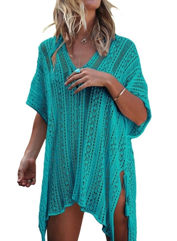 Image of Solid Crochet Knitted Beachwear Cover Up