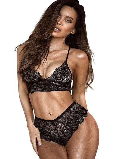 Lace Bralette Erotic 2pcs Lingerie Set (LC43054-2-1)