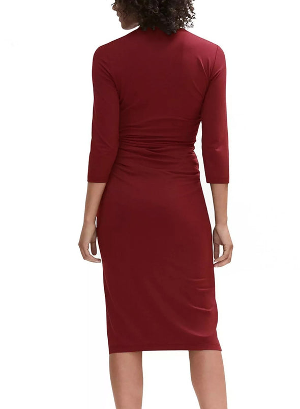 3/4 Sleeve Pleated Wrap Midi Dress (LC610256-3-2)