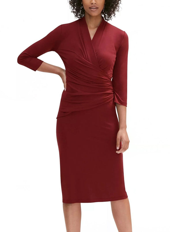 3/4 Sleeve Pleated Wrap Midi Dress (LC610256-3-1)