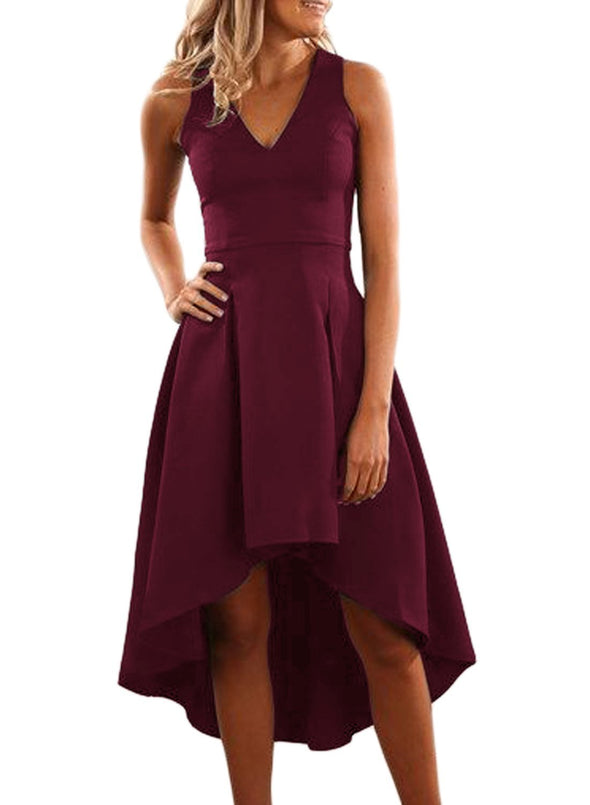 High Low Hem Sleeveless Midi Dress
