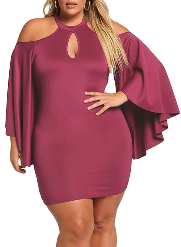 Cold Shoulder Bell Sleeve Mini Dress (LC610521-6-1)