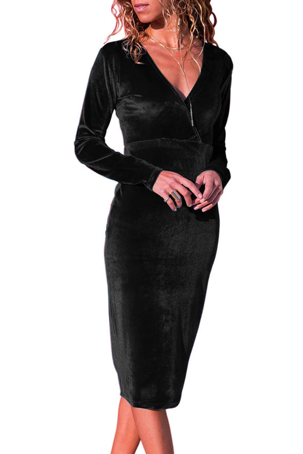 V Neck Sleek Velvet Midi Dress