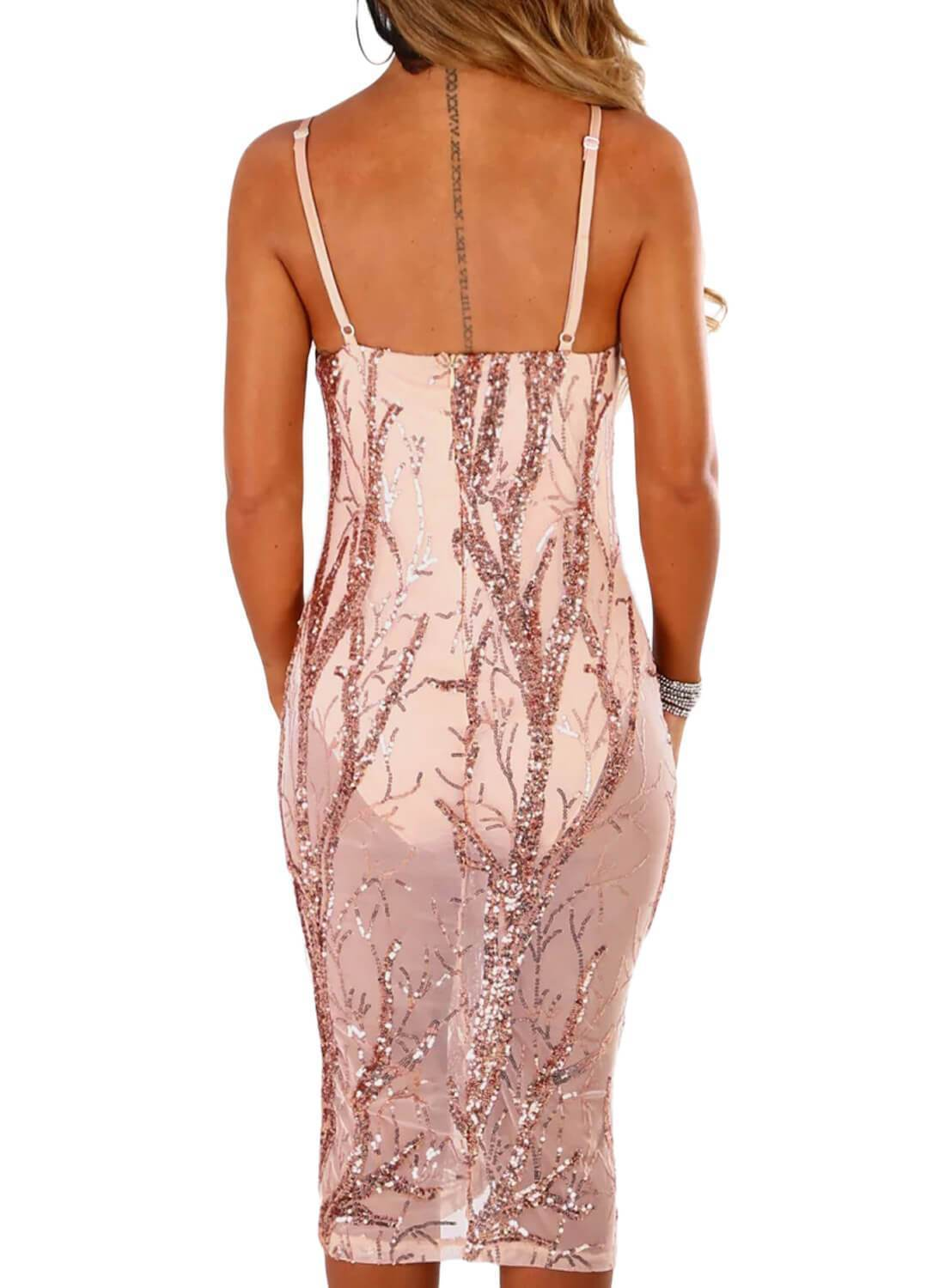 Sheer Sequin Midi Bodysuit Dress
