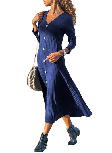 Button Front Long Sleeve Ribbed Maxi Dress (LC610922-5-1)