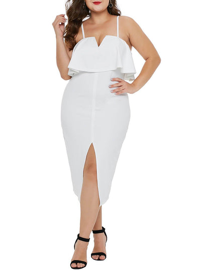 Ruffle Overlay Slit Front Plus Size Dress (LC610931-1-1)