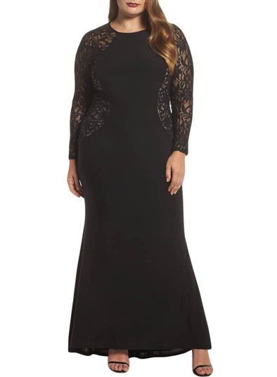 Lace and Knit Plus Size A-line Gown(LC611001-2-1)
