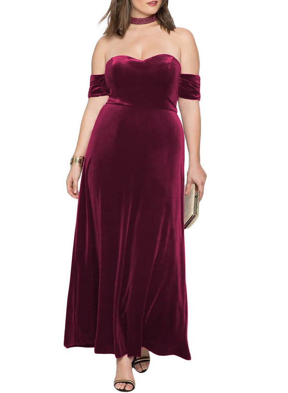 Sweetheart Bandeau Off Shoulder Plus Velvet Gown(LC611007-3-1)
