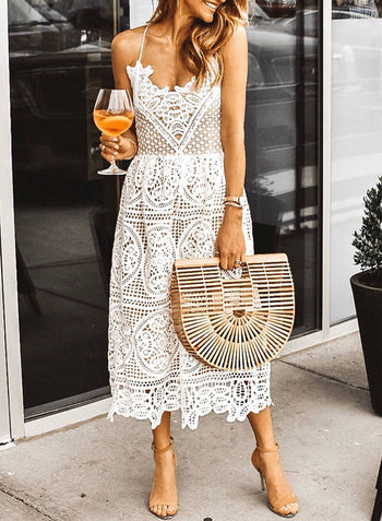 V Neck Spaghetti Lace Hollow Midi Dress