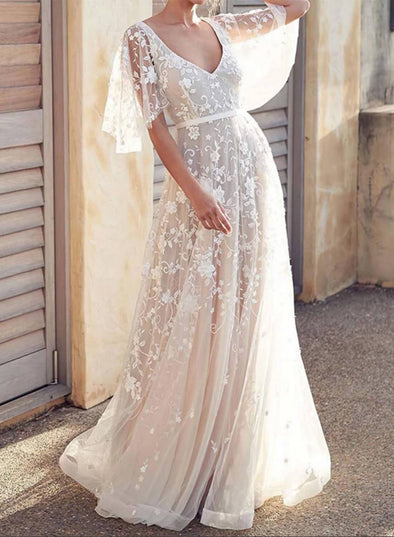 Boho V Neck Cap Sleeve Lace Beach Wedding Dress