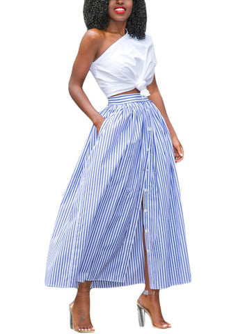 Blue White Stripes Button Front Skirt (LC65015-5-3)