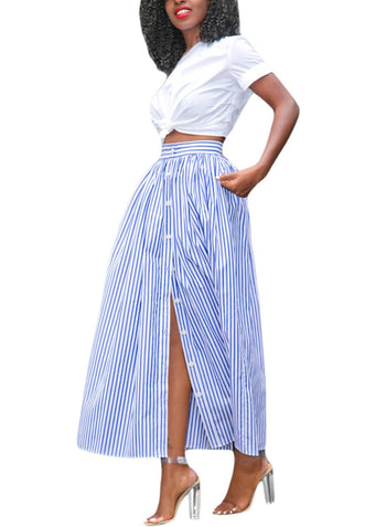 Blue White Stripes Button Front Skirt