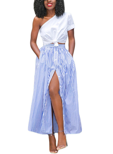 Blue White Stripes Button Front Skirt (LC65015-5-1)