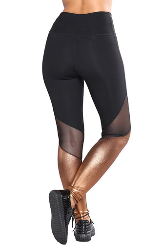Metallic Bottom Detail Active Stretch Leggings