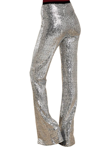 Image of High Waist Sequin Bell-bottom Pants (LC77143-13-2)