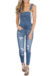 Wash Distressed Jeans Overalls