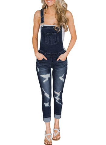 ba7cd34e767 Wash Distressed Jeans Overalls ...