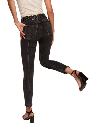 Image of Designful Seam Accent Raw Hem Jeans (LC786033-2-2)