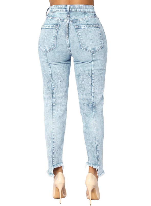 Designful Seam Accent Raw Hem Jeans (LC786033-4-2)