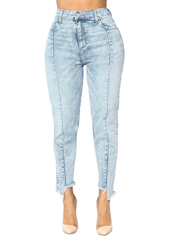 Designful Seam Accent Raw Hem Jeans (LC786033-4-1)