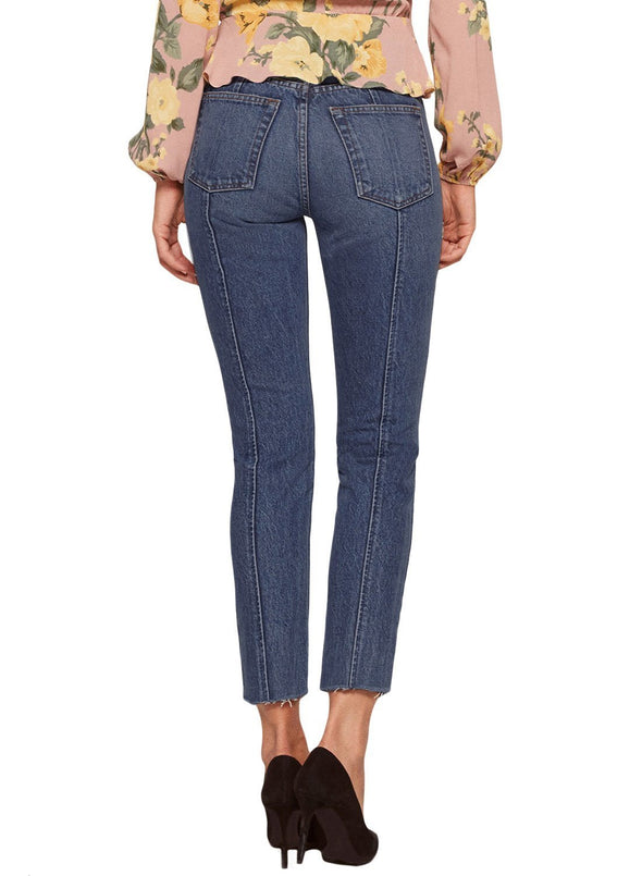 Designful Seam Accent Raw Hem Jeans (LC786033-5-2)