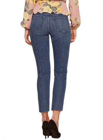 Image of Designful Seam Accent Raw Hem Jeans (LC786033-5-2)