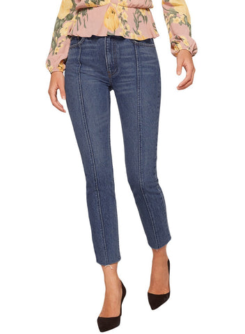 Designful Seam Accent Raw Hem Jeans (LC786033-5-1)