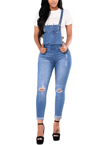 Image of Denim Laidback Distressed Overalls