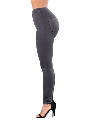 Image of High Waist Skinny Jeans with Round Pockets