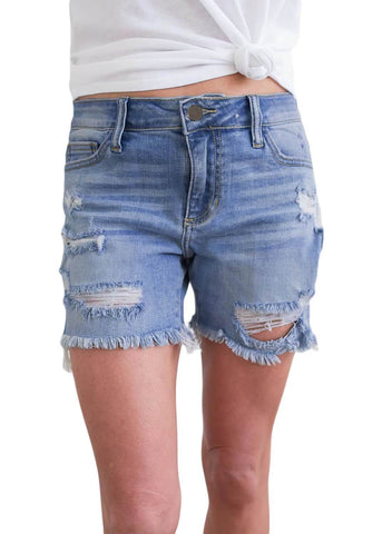 Distressed Ripped Denim Shorts (LC786079-104-1)