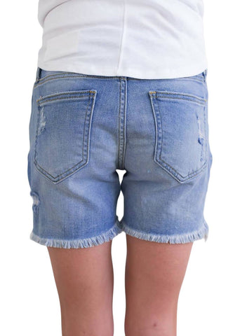Distressed Ripped Denim Shorts (LC786079-104-2)