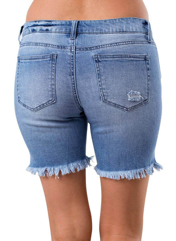Distressed Ripped Denim Shorts (LC786079-5-2)